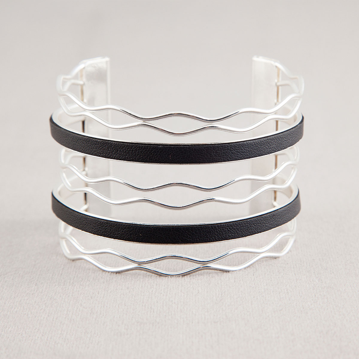 Silver Diamond with Black Trim Cuff Bracelet
