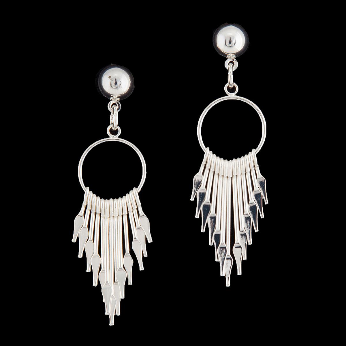 Silver Multi Dangle Post Earrings