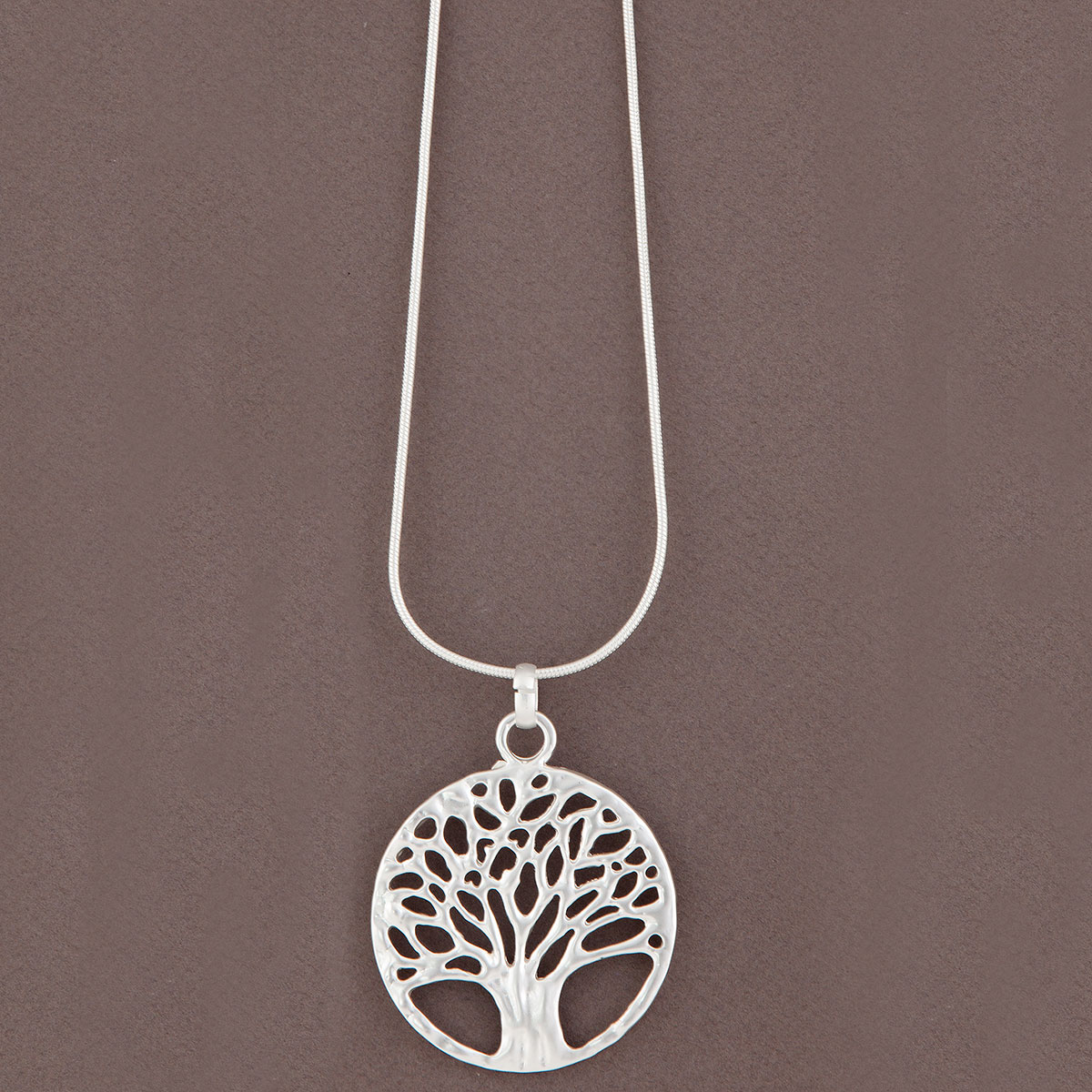 Matte Silver Tree of Life on Chain Necklace