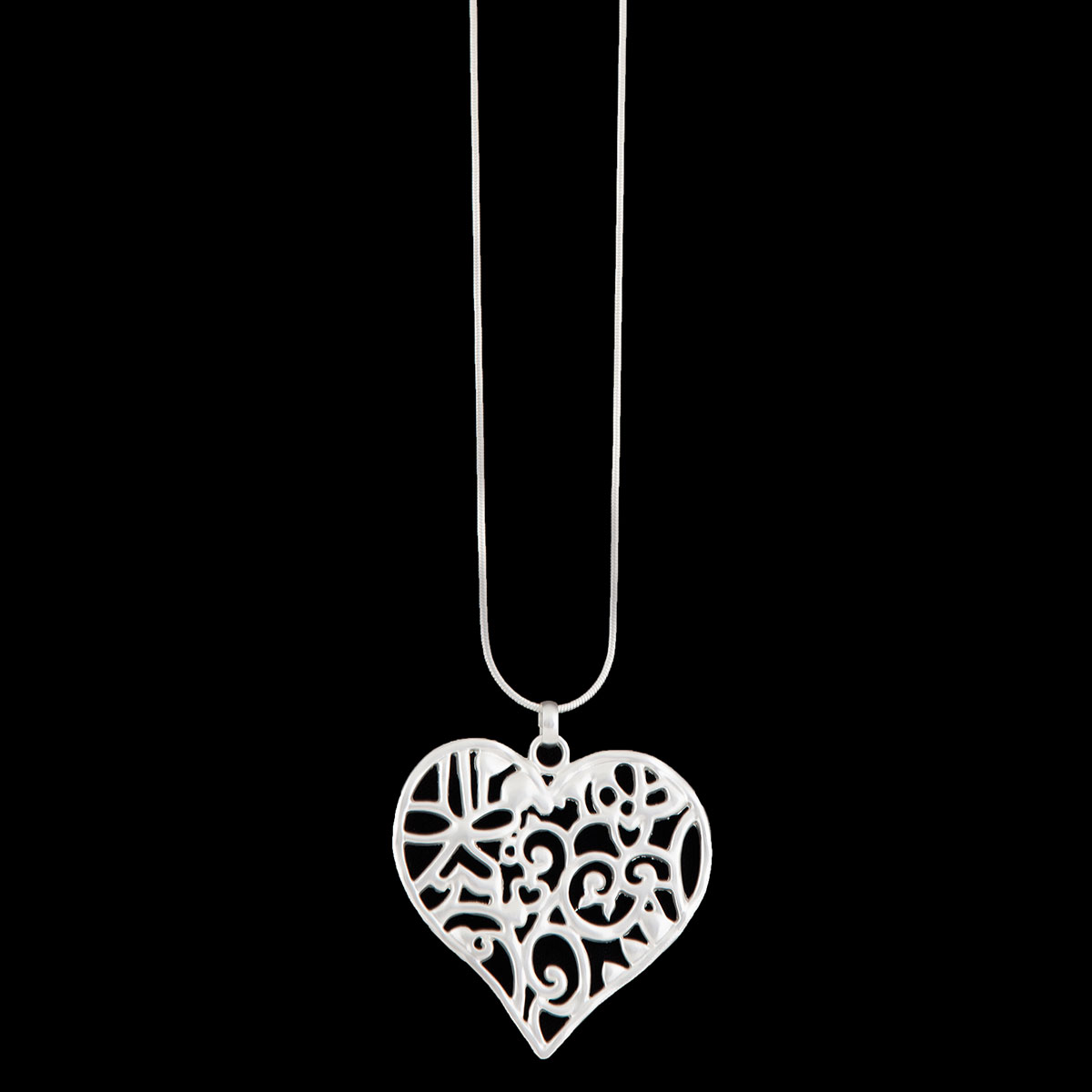 Matte Silver Heart on Chain Necklace