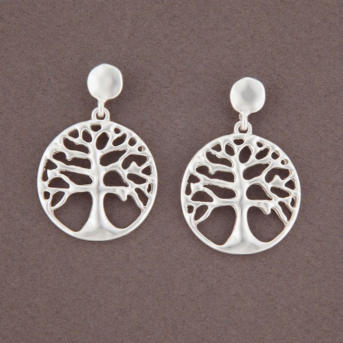 Matte Silver Tree of Life Post Earrings