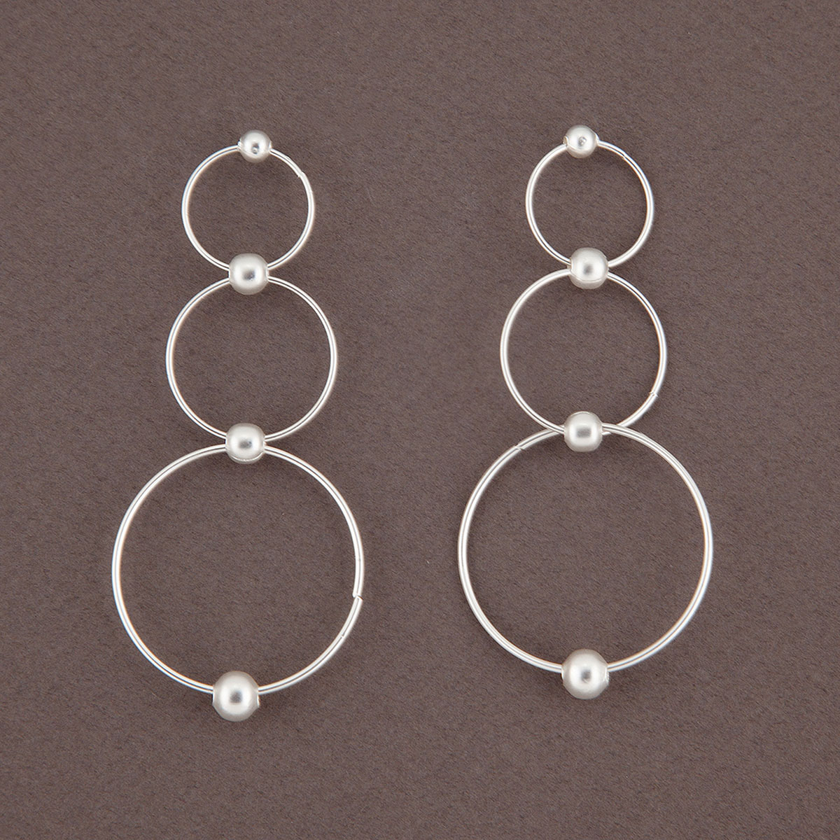 Matte Silver Triple Ring and Bead Post Earrings