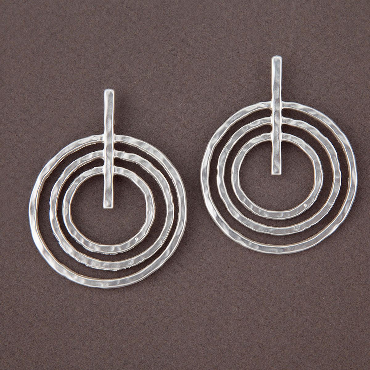 Matte Hammered Silver Triple Ring Post Earrings