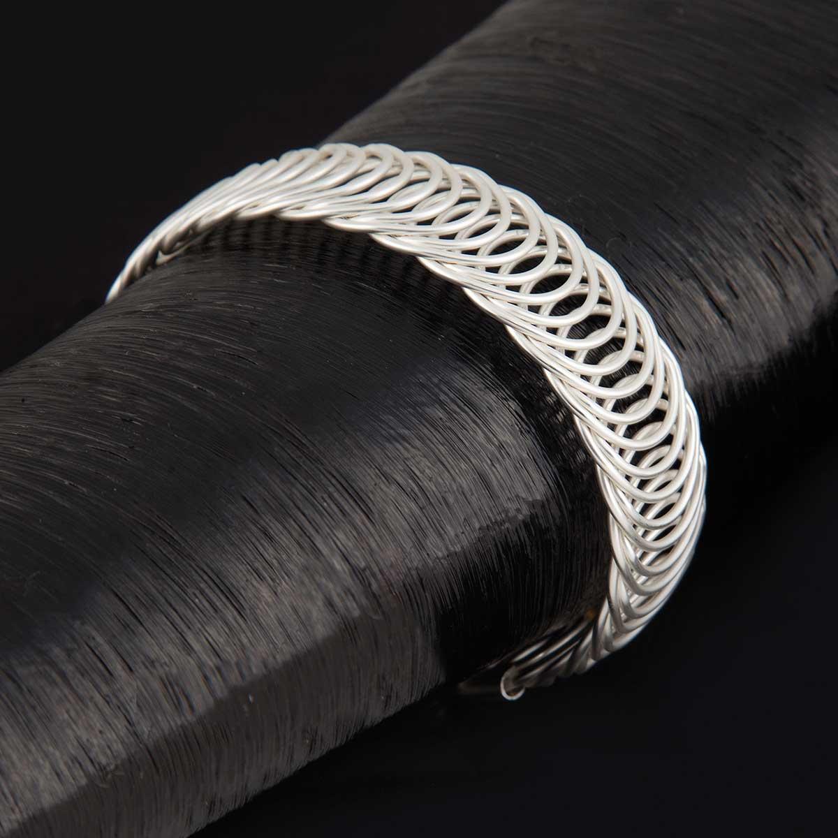 Matte Silver Circles Wrap Bracelet