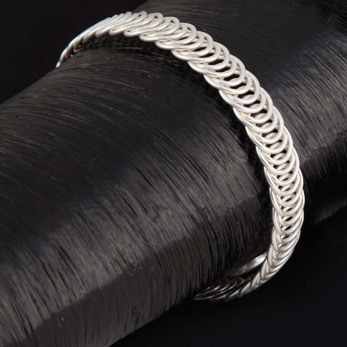 Matte Small Silver Circles Wrap Bracelet