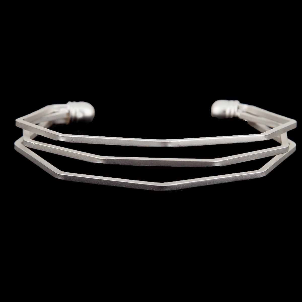 Matte Silver Contemporary Cuff Bracelet