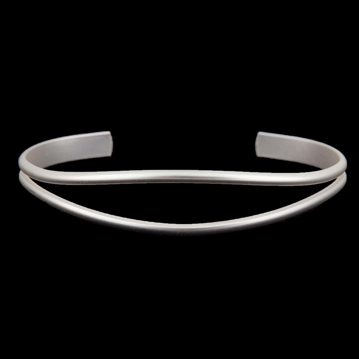 Matte Silver Sleek Cuff Bracelet