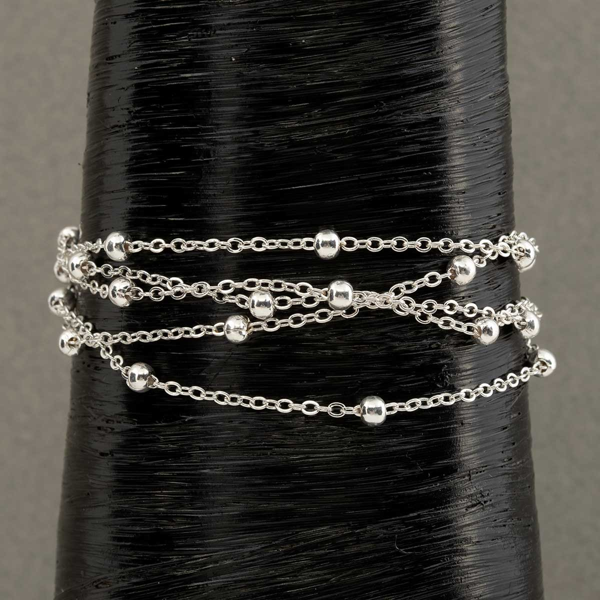 "Silver Multi Strand Chain Bracelet with Mini Balls 7""-9"""