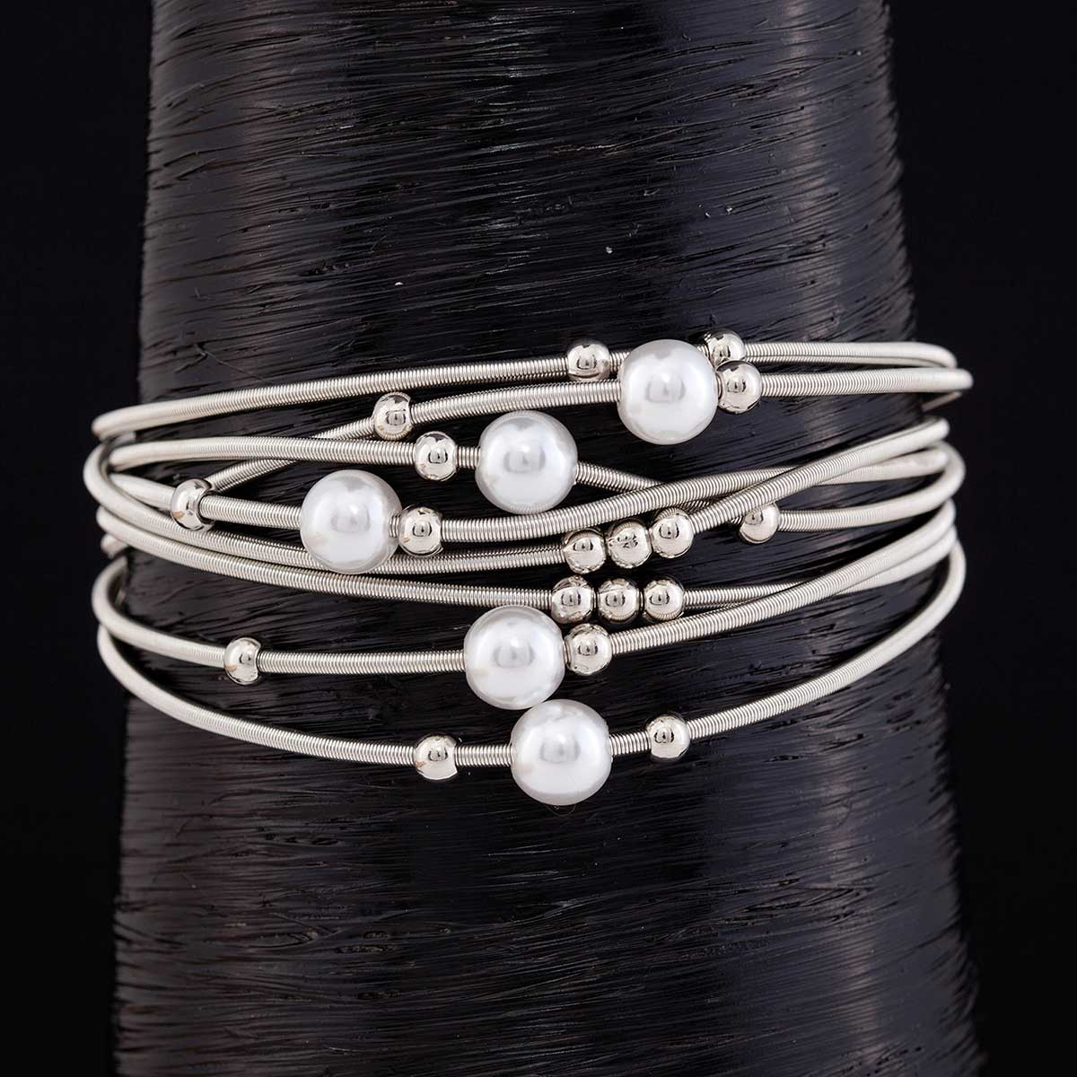 Silver Coil Pearl and Mini Bead Bracelet with Magnetic Clasp 7.5