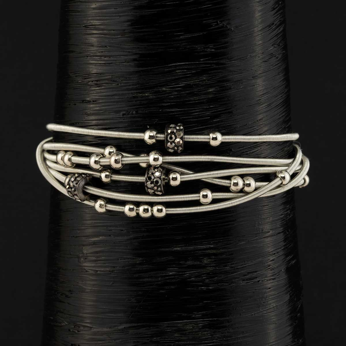 Gunmetal Coil Bracelet with Black Beads and Magnetic Clasp 7.5""