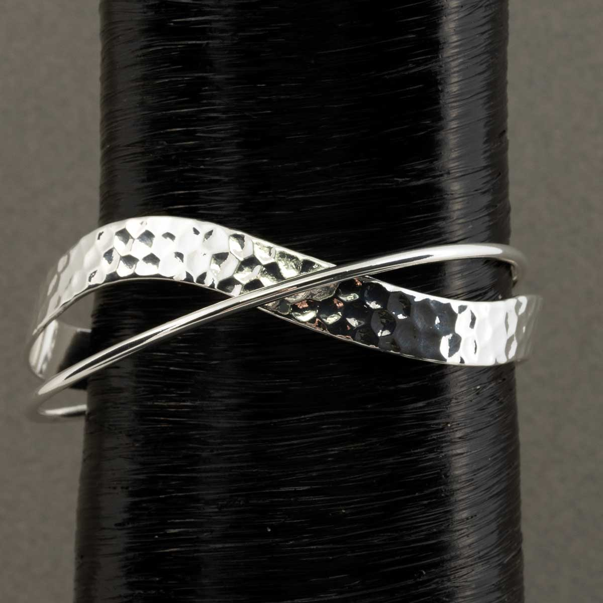 "Hammered and Shiny Silver Wave Cross Cuff Bracelet .5""x8"""