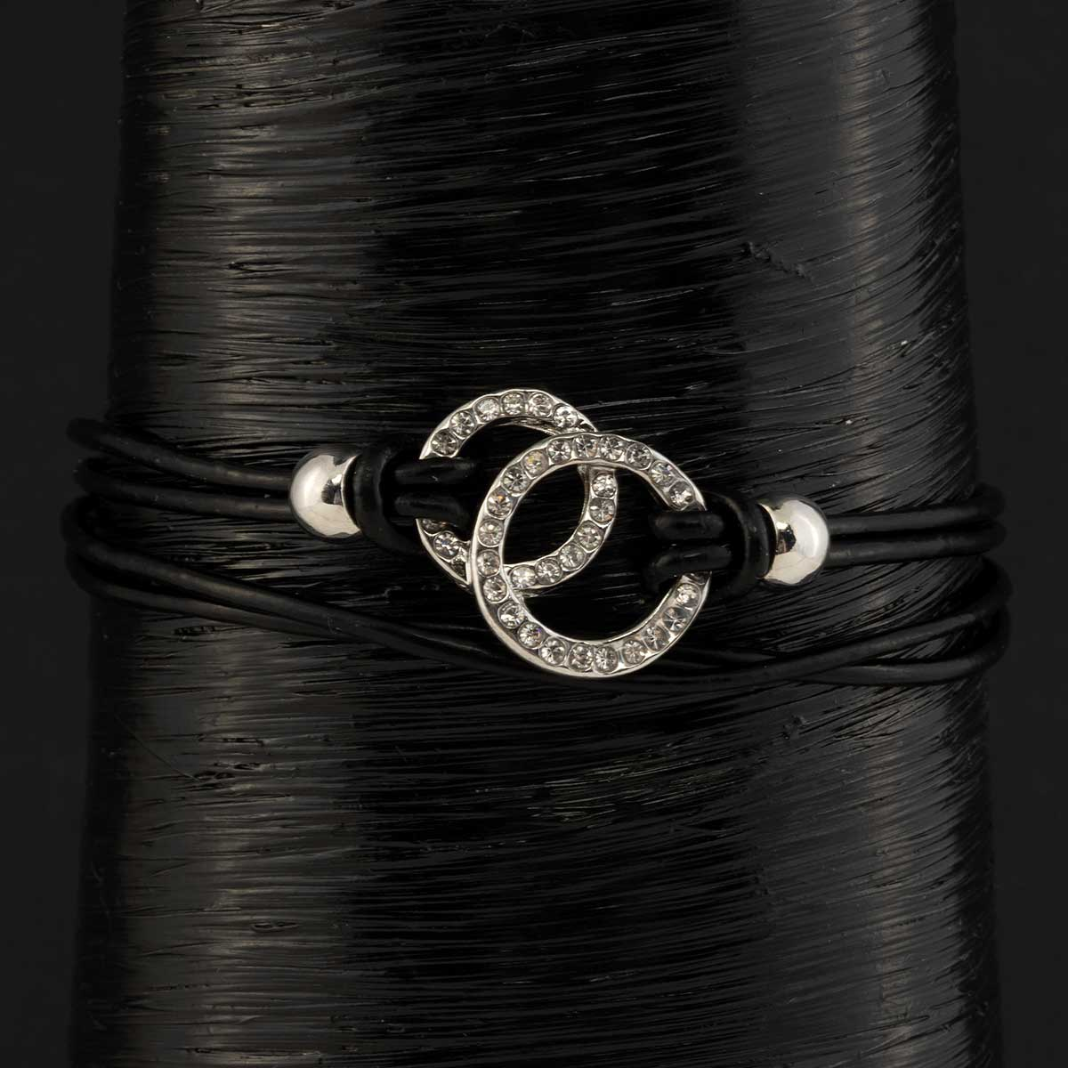 Silver Double Circle with Crystals on Black Cord Bracelet with M