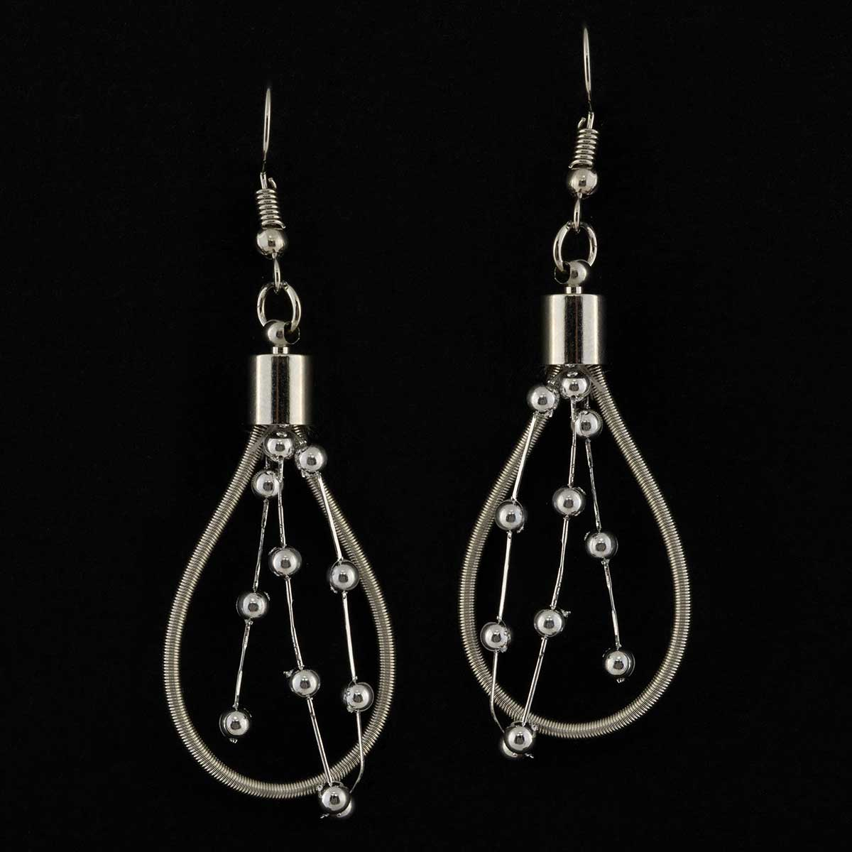 """Silver Coil with Beads Dangle French Wire Earrings 1""""x2.25"""""""