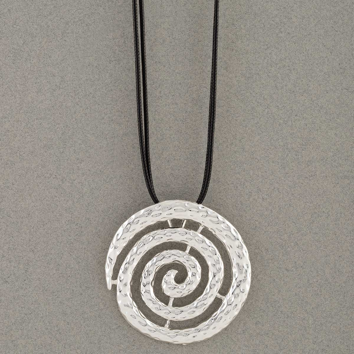 """Silver Celtic 2""""x2"""" Swirl Medallion Necklace on Black Cord 16""""-1"""