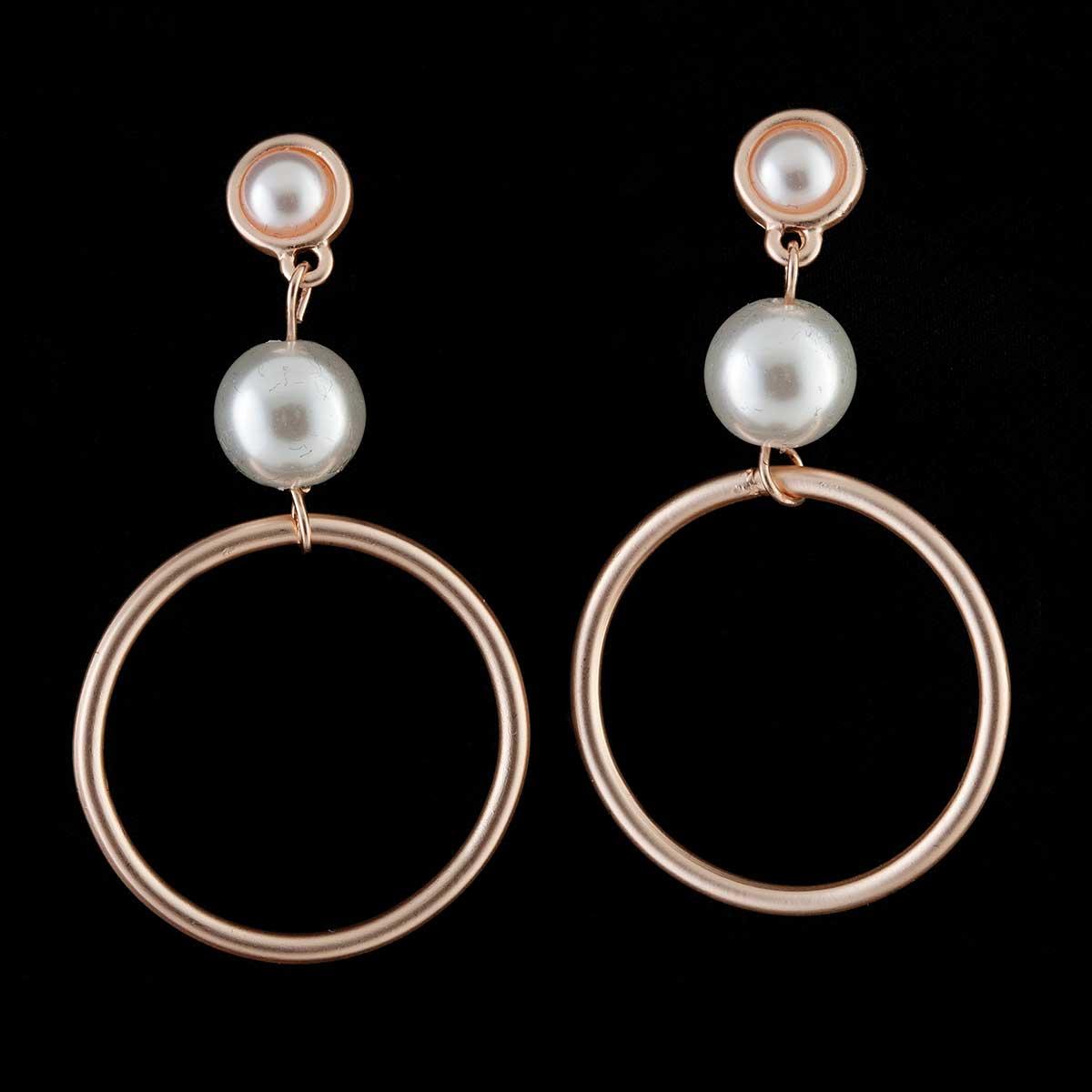 Rose Gold Hoop and Pearl Post Earrings