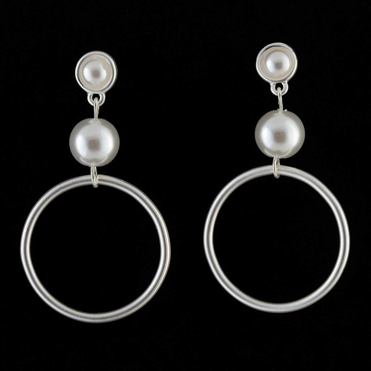 Satin Silver Hoop and Pearl Post Earrings