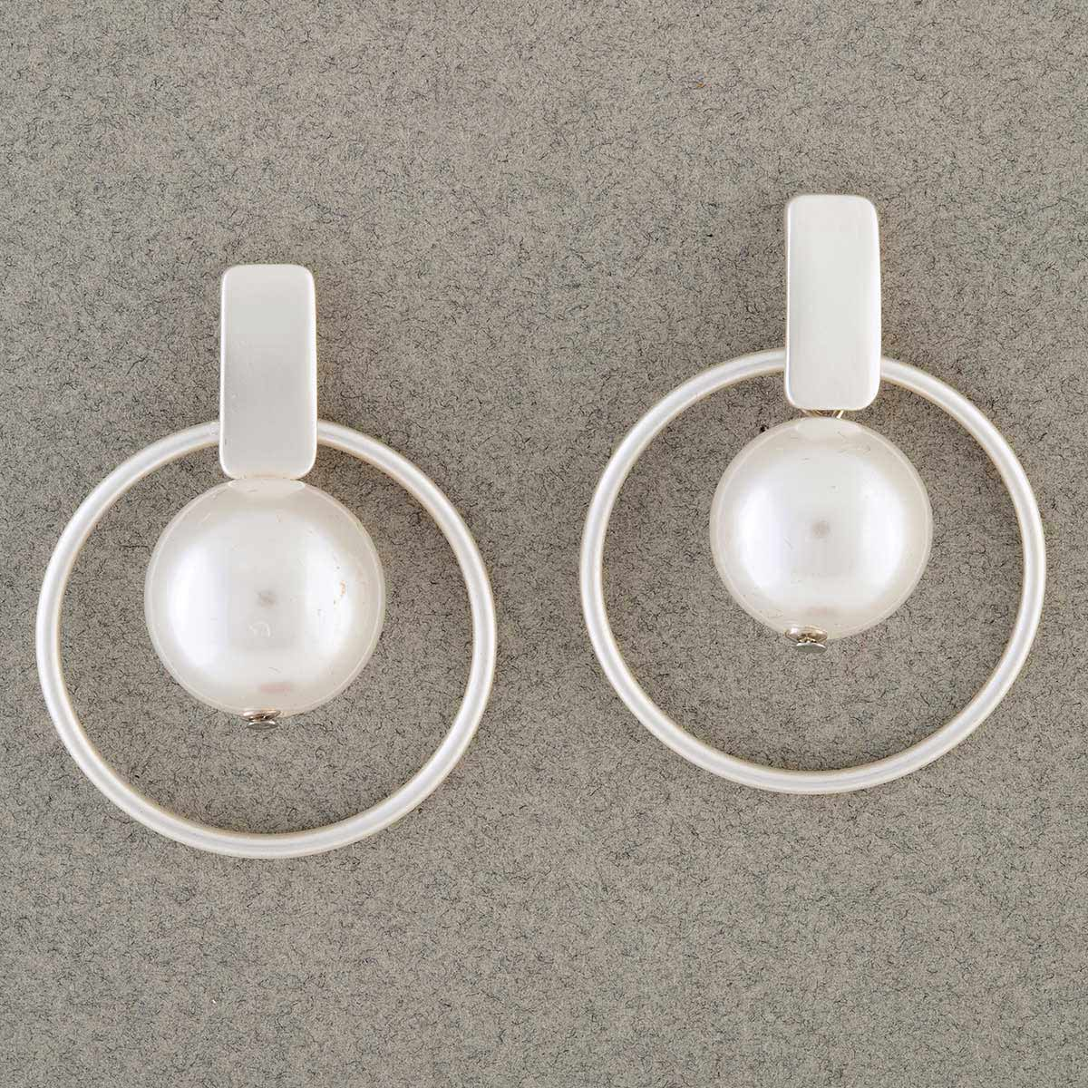 Satin Silver Circle with Pearl Post Earrings