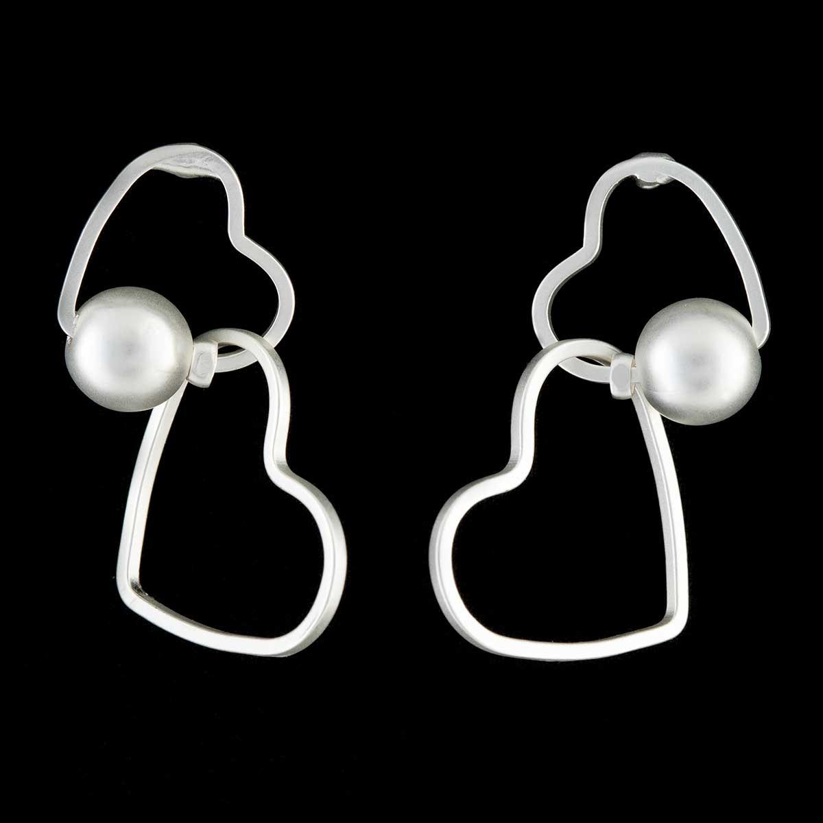 Satin Silver Double Heart Post Earrings
