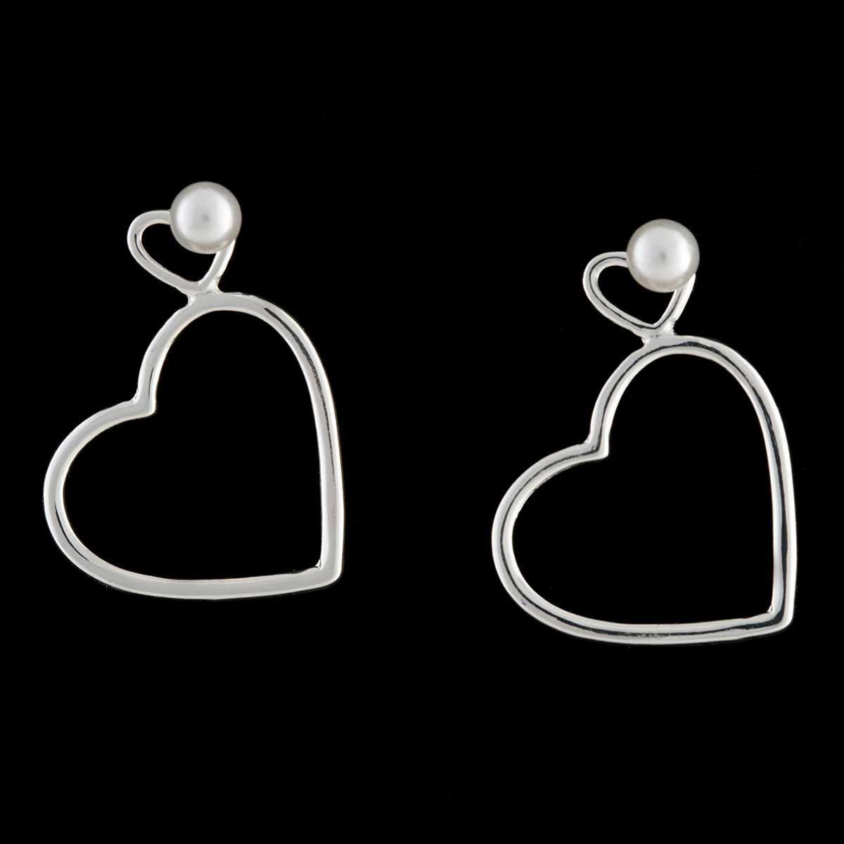 Silver Heart with Pearl Post Earrings