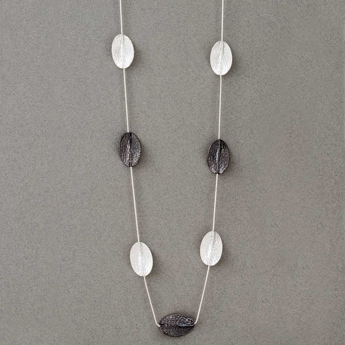 Silver and Pewter Mini Leaf Necklace on Chain