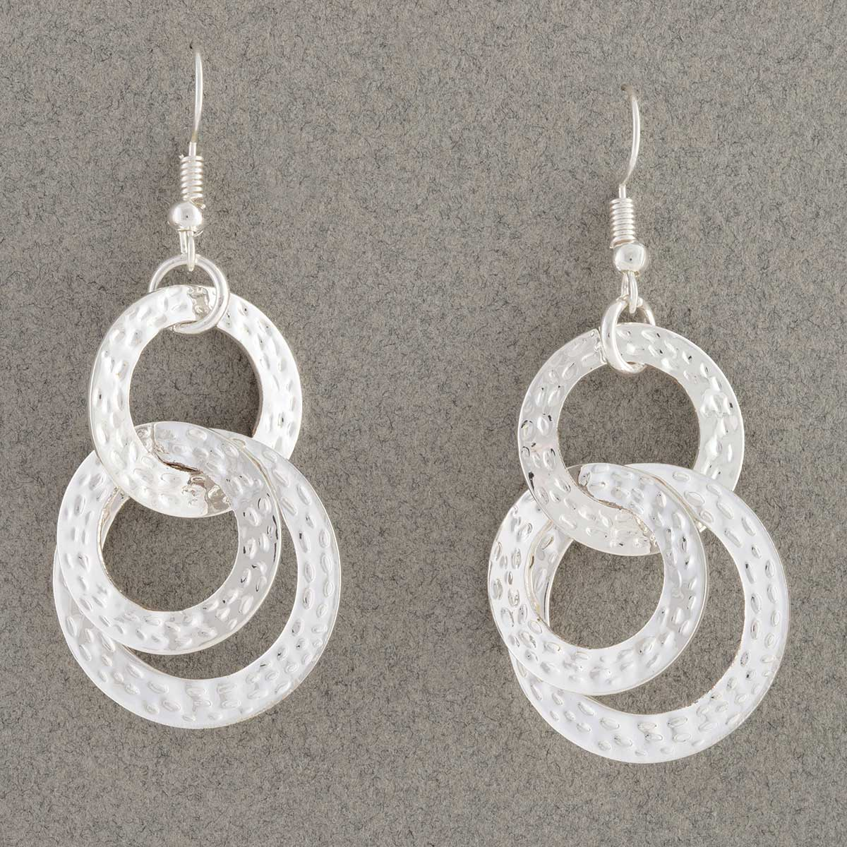 Silver Interlocking Circles French Wire Earrings