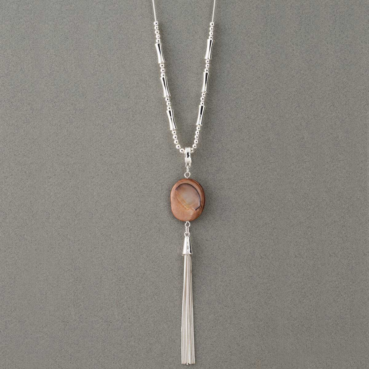 Silver Beads and Tassel Necklace on Chain