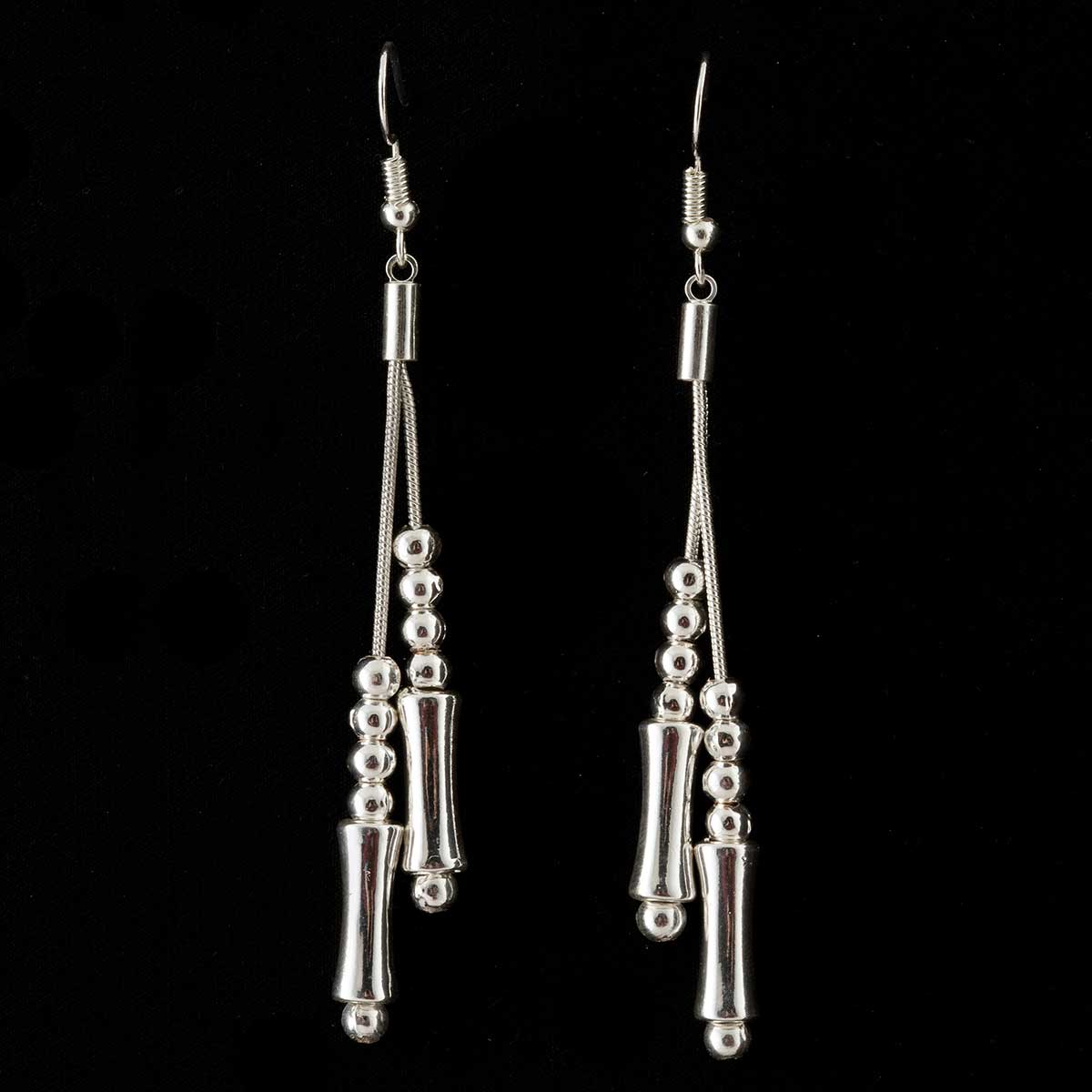 Silver Bead and Bar Dangle French Wire Earrings