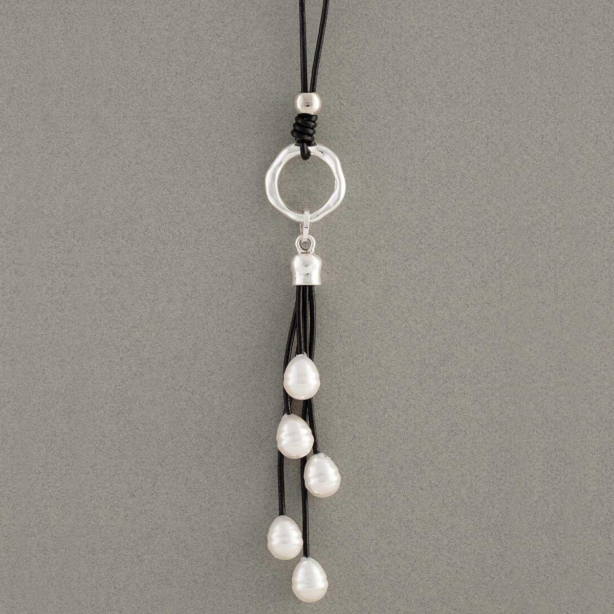 Pearl Tassel Necklace on Black Cord