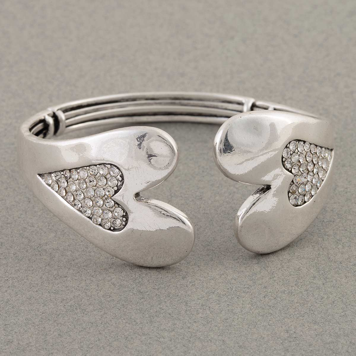 Silver Double Heart Hinged Cuff Bracelet