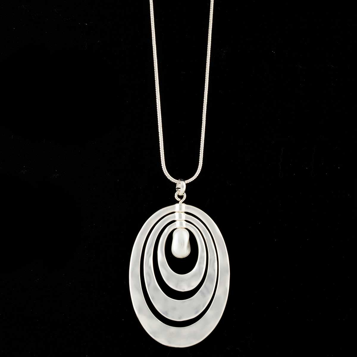 Satin Silver Triple Oval with Pearl Necklace on Chain
