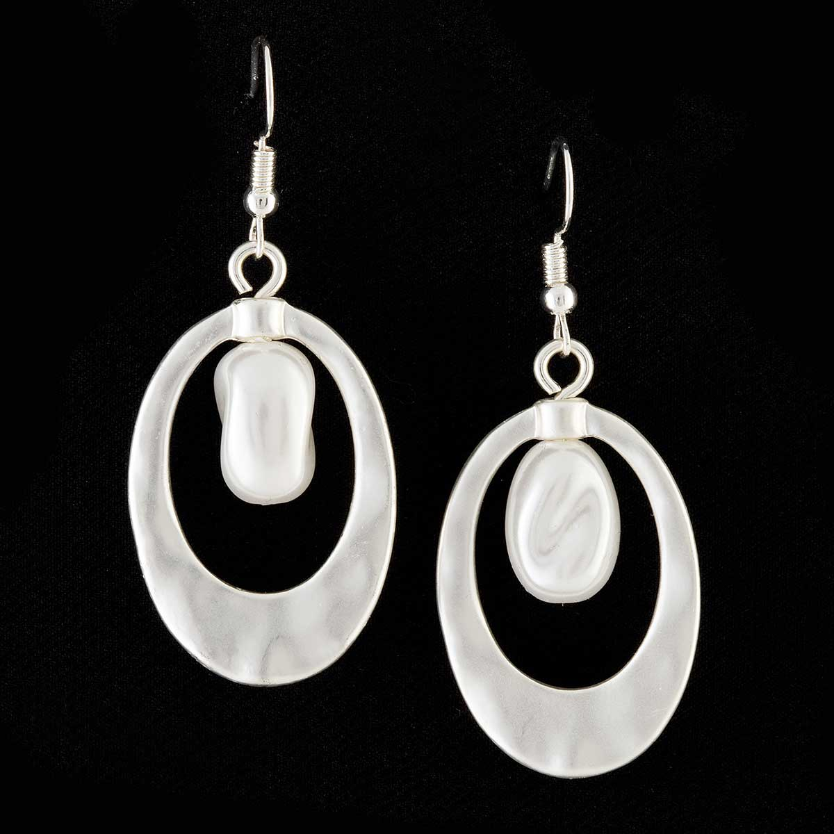 Satin Silver Oval with Pearl French Wire Earrings