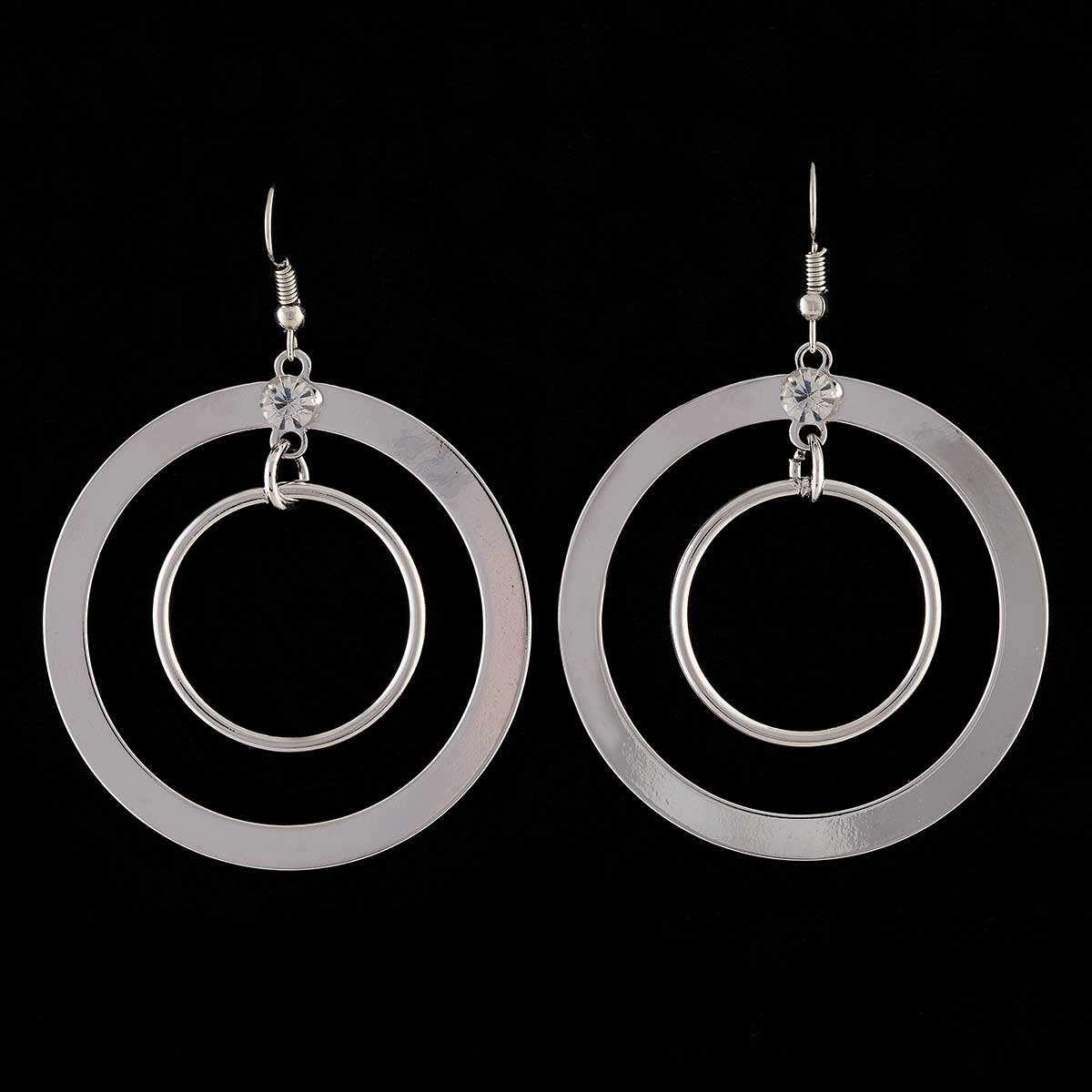 Silver Double Circle French Wire Earrings