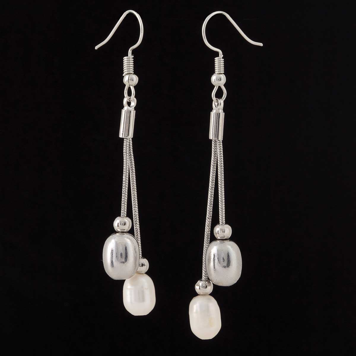 Silver Double Dangle Pearl and Bead French Wire Earrings