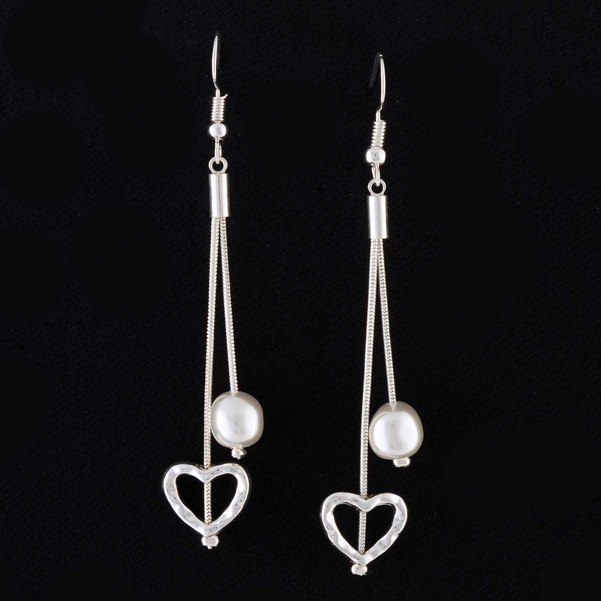 Silver Double Dangle Pearl and Heart French Wire Earrings