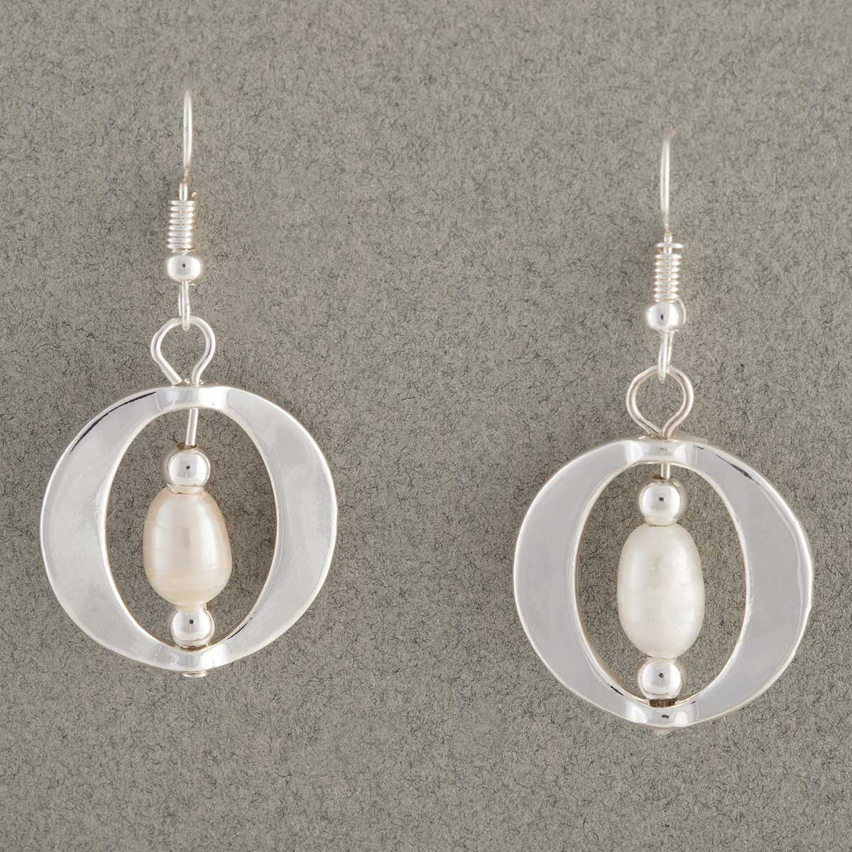 Silver Circle with Pearl French Wire Earrings