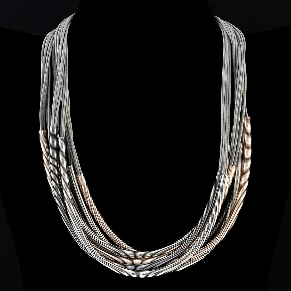 Multi Strand Choker Necklace with Magnetic Clasp
