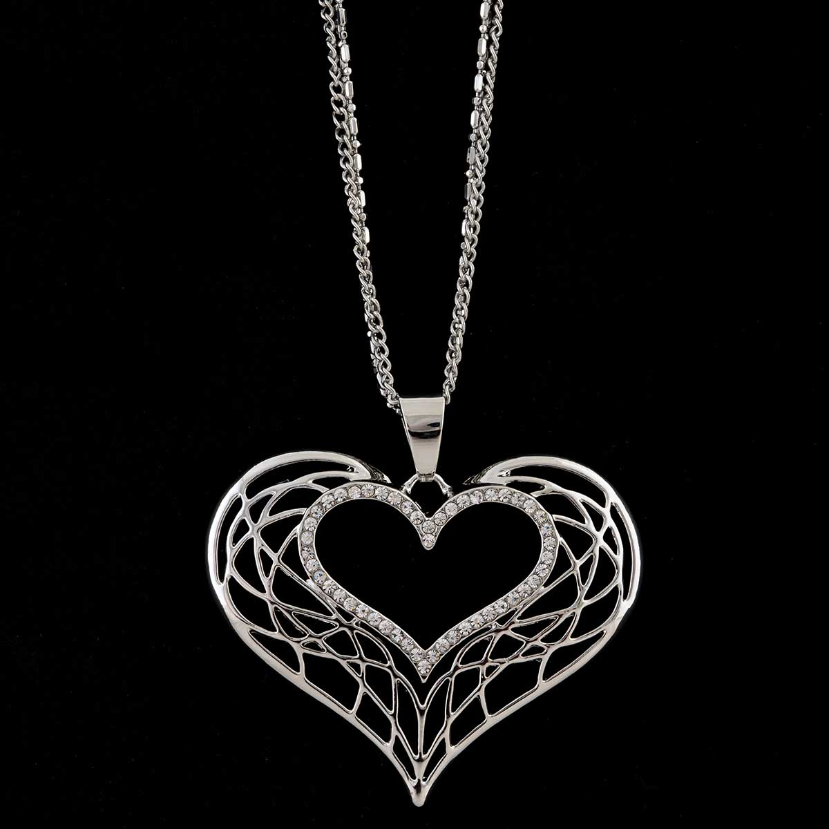 Silver Heart Necklace on Multi Strand Chain