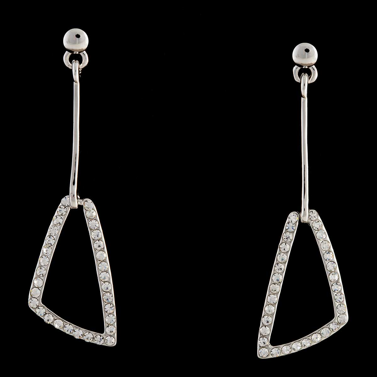 Silver Crystal Dangle Post Earrings