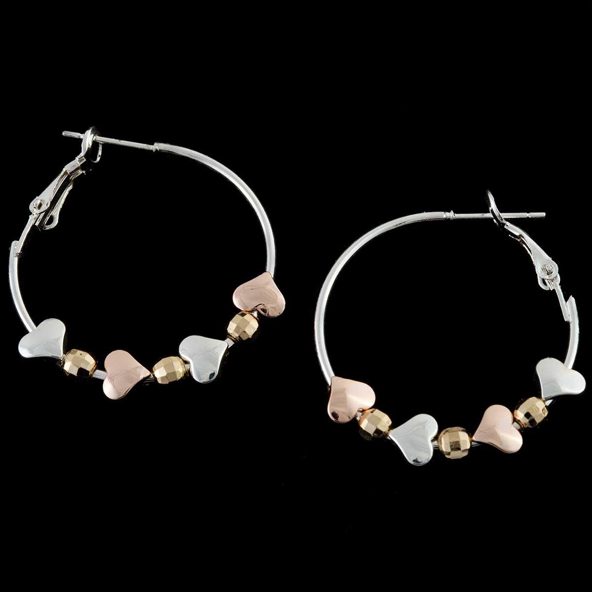 Silver Multi Hearts on Hoop Earrings