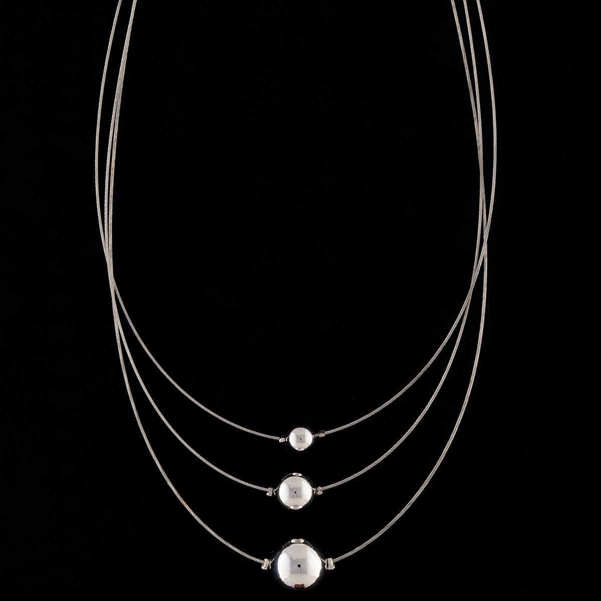Silver Triple Strand with Beads Necklace on Chain