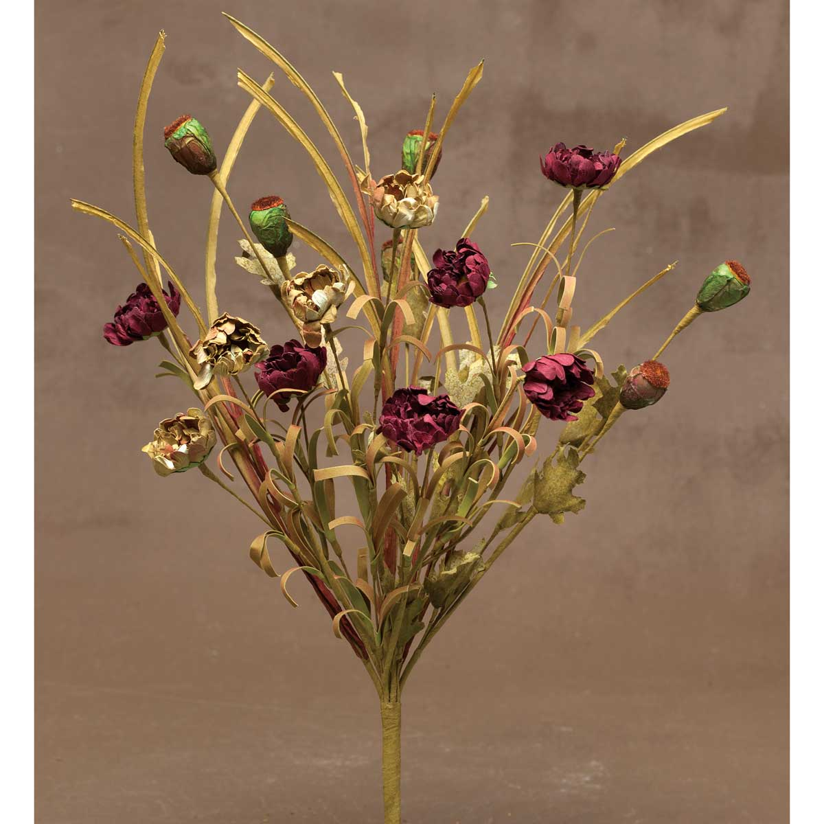 "DRIED PRAIRIE MIXED BUSH 20.5"" Burgundy"