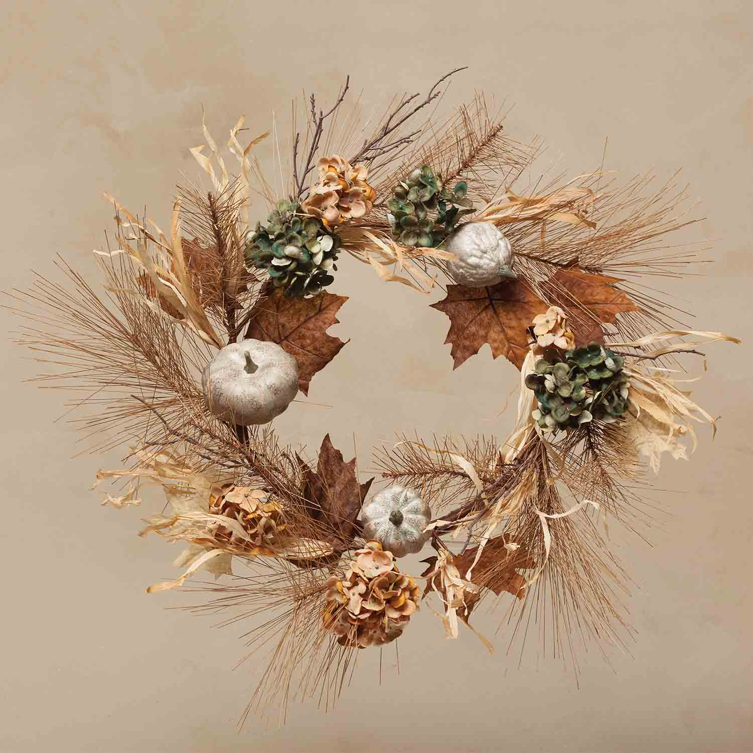 "HARVEST SEASON 20"" WREATH HYDRANGEA/PUMPKIN"