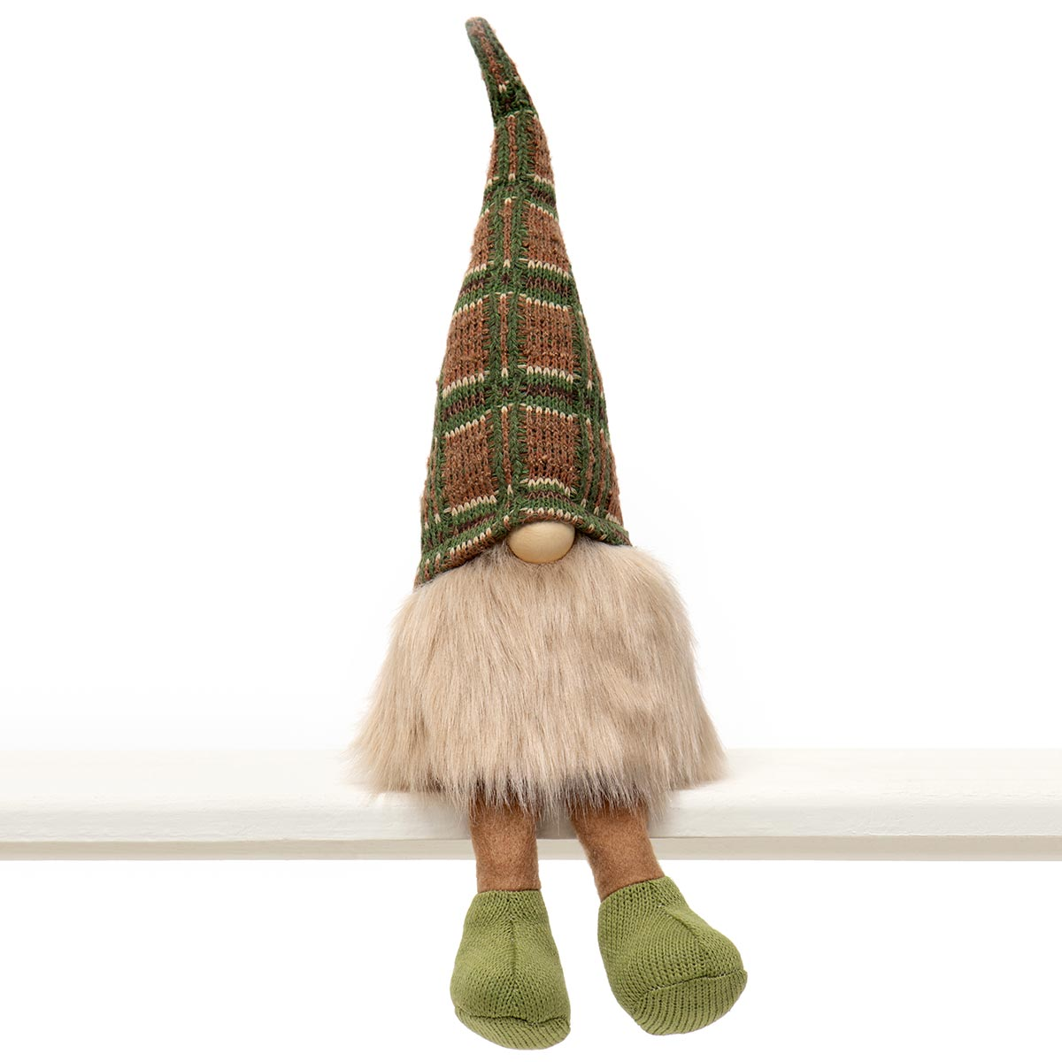 COUSIN GNOME WITH WIRED GREEN/BEIGE PLAID