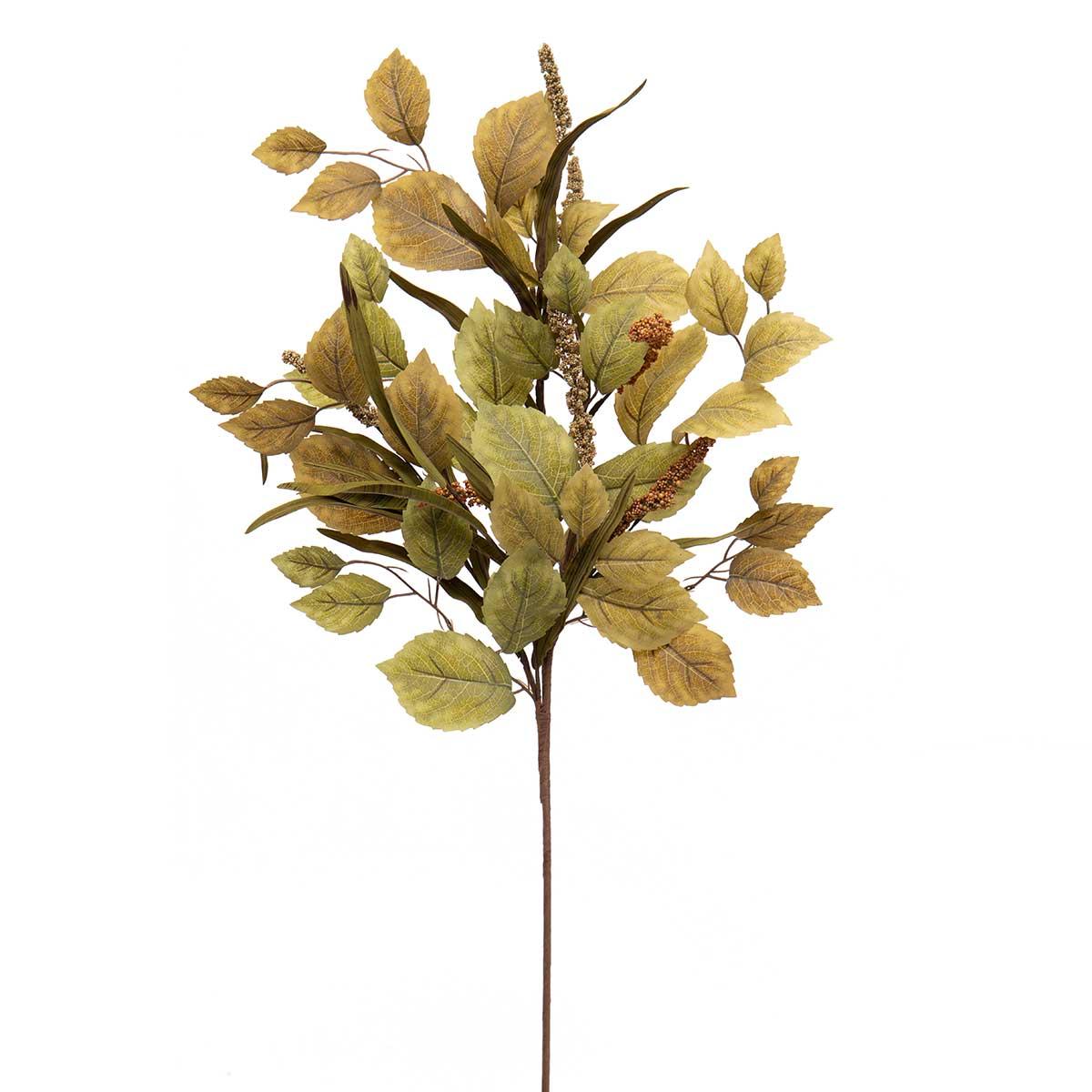GREEN/BROWN LINDEN LEAF SPRAY