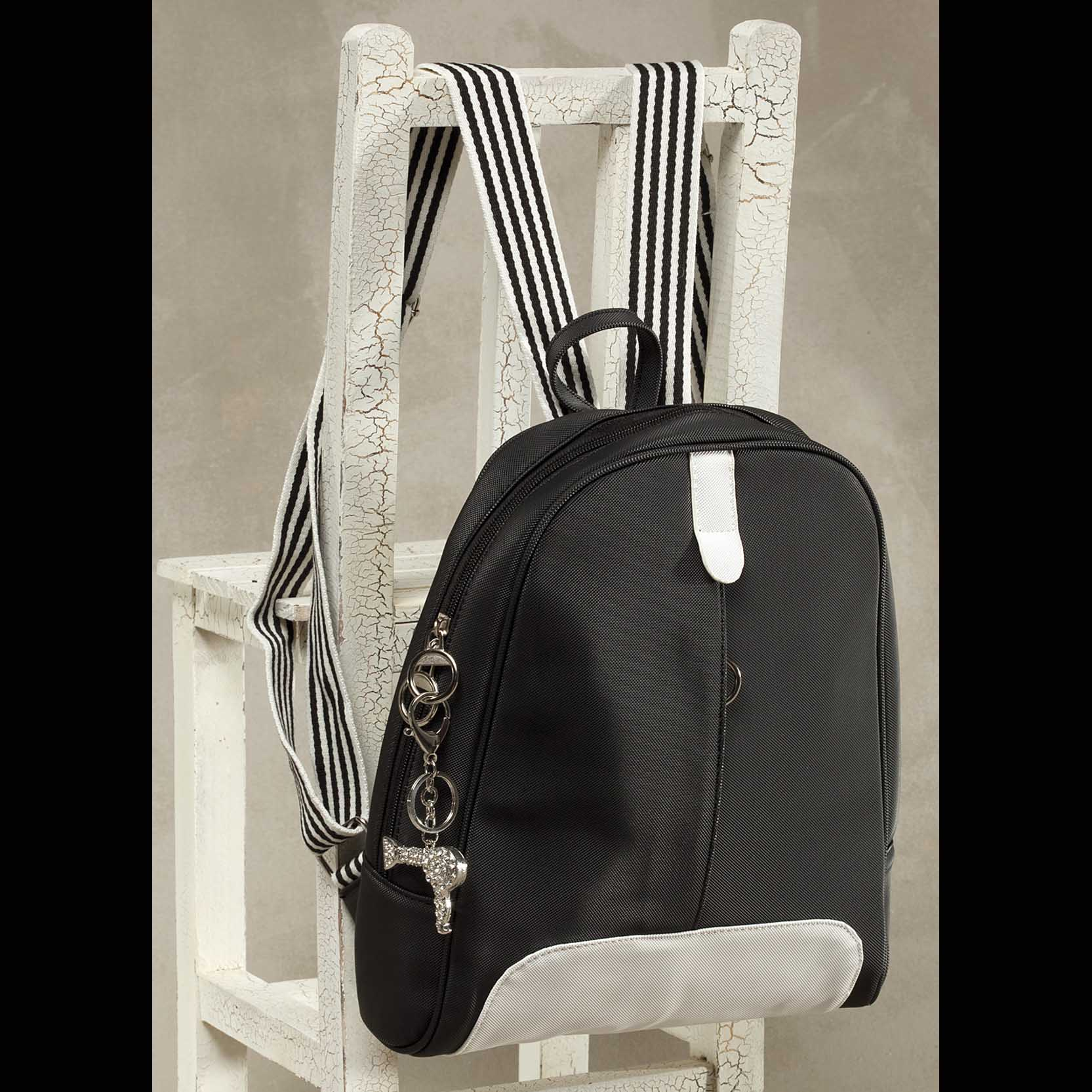 Canvas Back Pack Black with White Trim *30sp