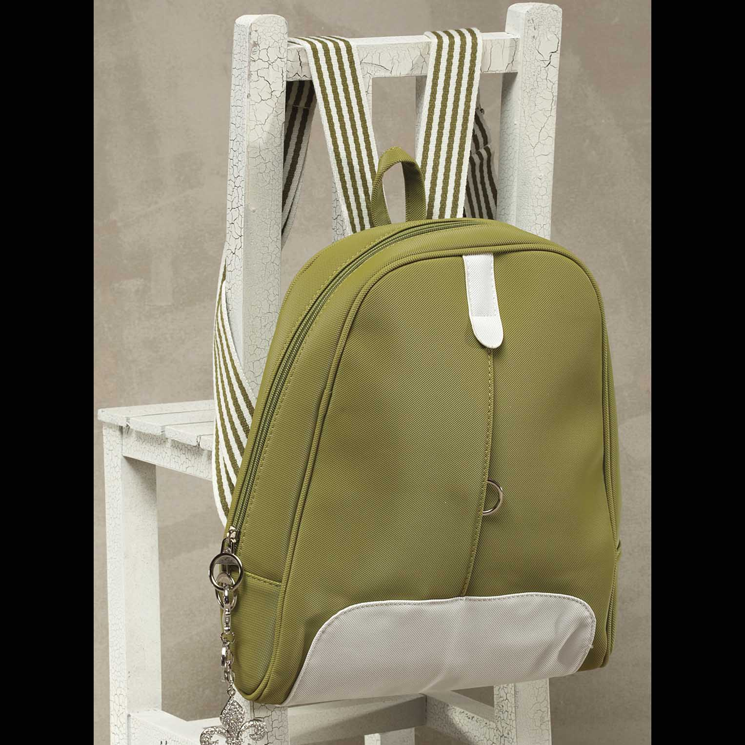 Canvas Back Pack Aloe Green with White Trim *30sp