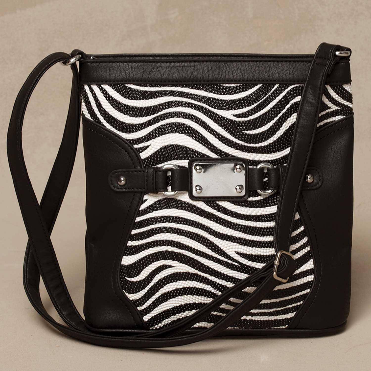 "Black Zebra Pattern Cross-body Bag 9.5""x10"" *30sp"