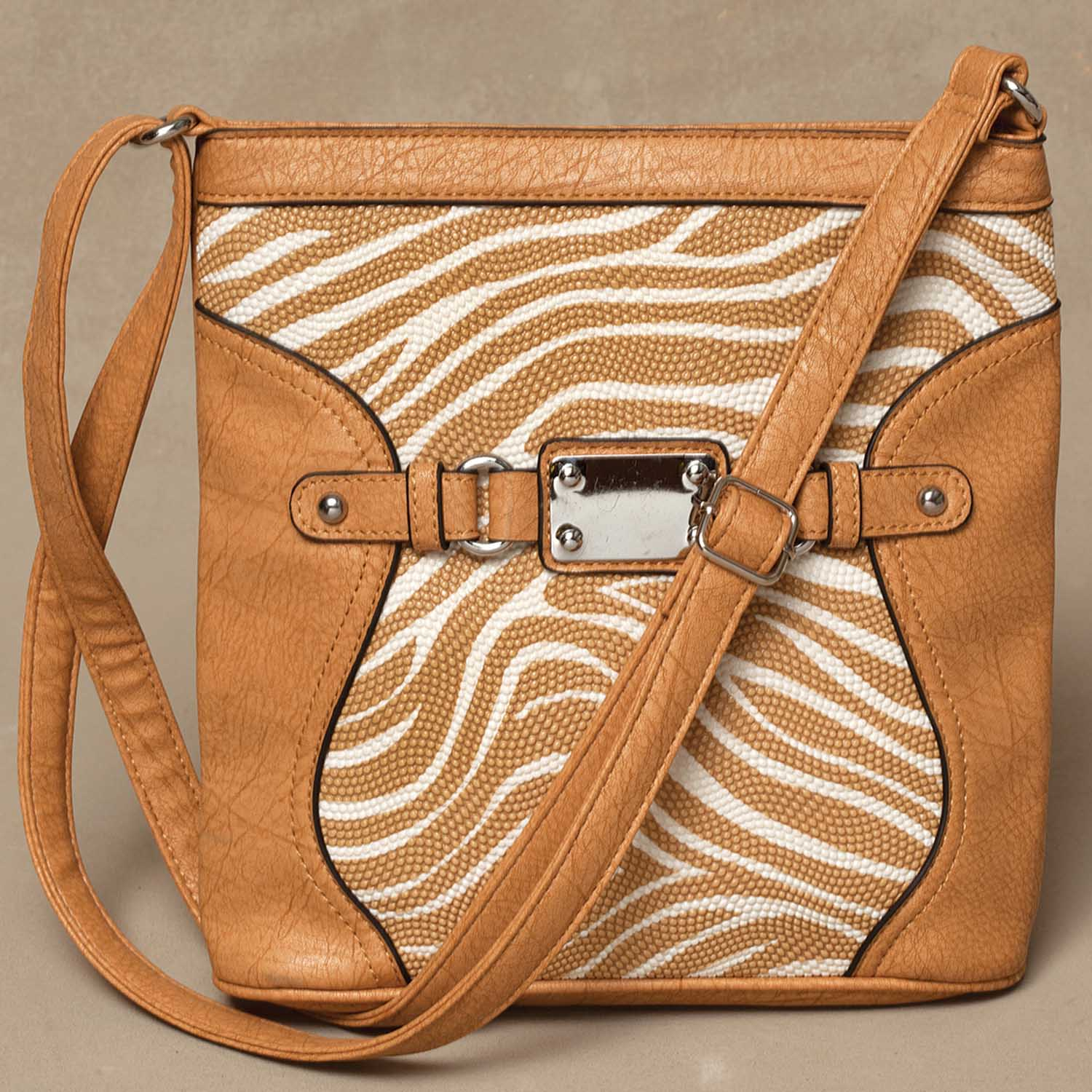 "Camel Zebra Pattern Cross-body Bag 9.5""x10"" *30sp"