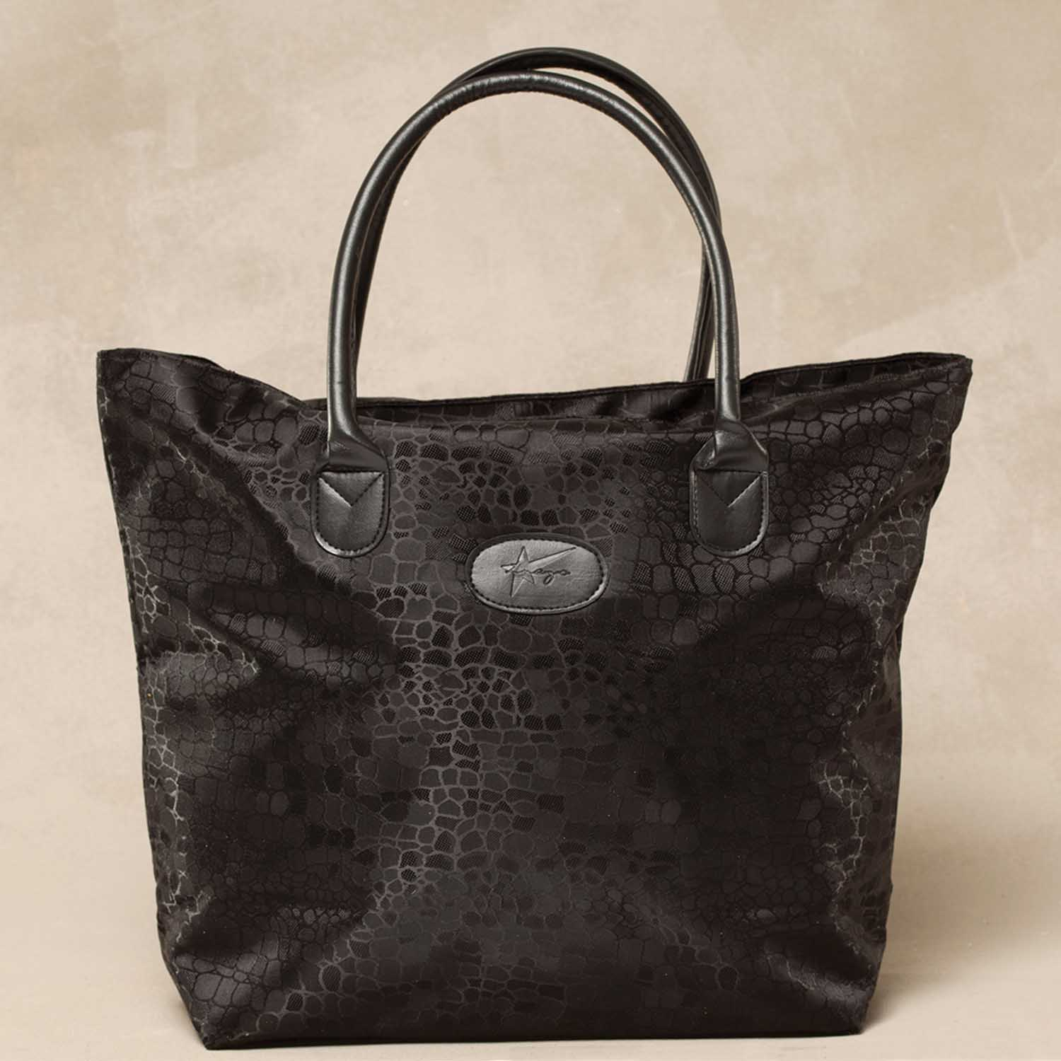 BLACK COBBLESTONE TRAVEL SIGNATURE TOTE WITH LOGO