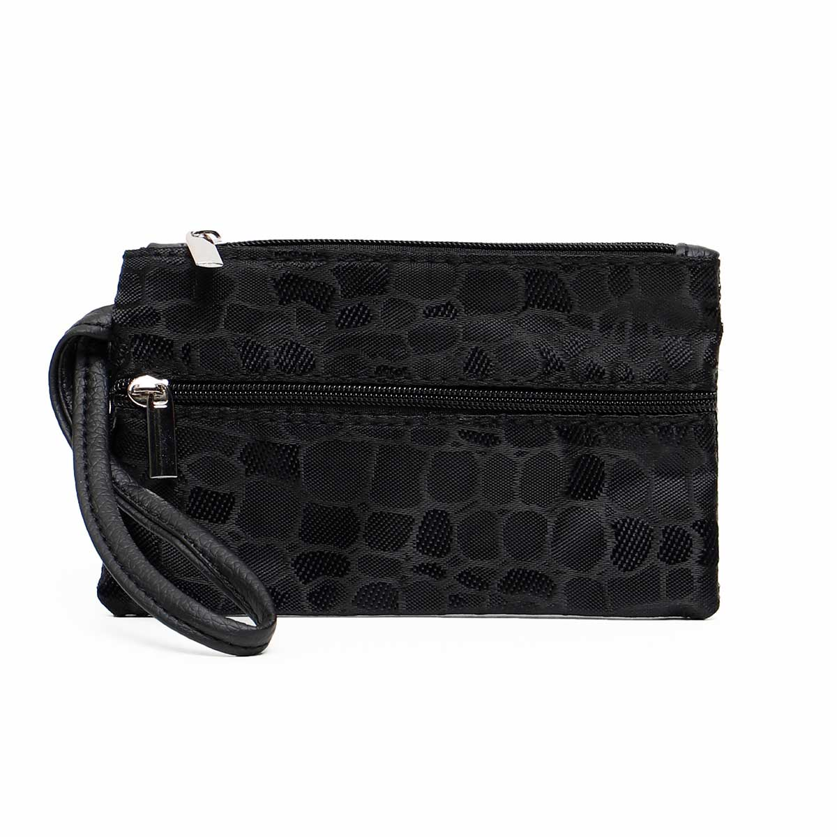 BLACK COBBLESTONE COIN/CARD PURSE WITH 3 ZIPPERS